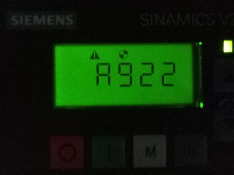 【西门子V20变频器】 变频器运行时报A922报警
